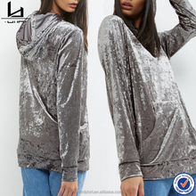 China factory price wholesale grey velour single pocket front plain oversized hoodie