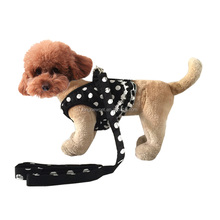 Polka Dot Dog Flora Harness Lady Elegant Leash S-L 47.3 Inch Red Black