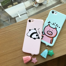 Fashion Tassel Pendant Phone Cases For iphone6 Cute Cartoon animal pandas pig Hard PC Back Cover For iPhone 6S 7 7Plus