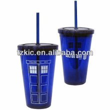 16oz Double wall Acrylic Travel Cup With Straw