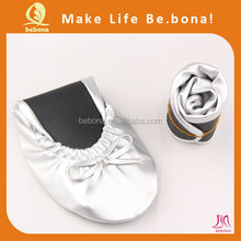 2015 China wholesale new arrival women flat shoes foldable ballet shoes in bag