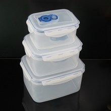 Food storage plastic vacuum container, keep air out&fresh preservation, set of 3, four side clip lock, microwave safe