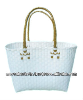 Cheap Woven Baskets Shopping weaving Bag(ATM-F8) with White or Colorful made from Plastic Straps Polypropylene pp