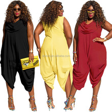 Plus Size Loose Sleeveless Overalls Sexy Women Jumpsuits
