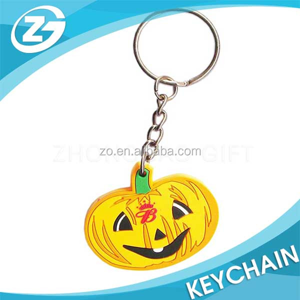 Christmas Halloween Advertising Promotion 2D Logo Custom Cartoon Pumpkin Shape Key Chain Rubber Soft PVC Keychain