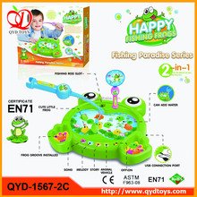 Newest Children Educational Toy battery/USB operated electric fishing frog game for kids