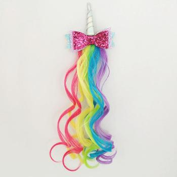 New Design Unicorn Hair Clip With Colorful Wave Synthetic Hair Extensions Wholesale Hair Accessories for Kids