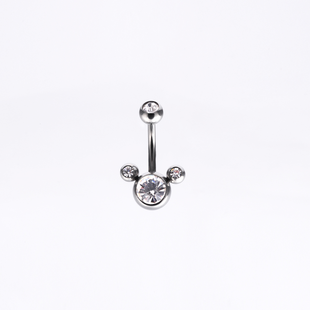 Wholesale stainless steel tripe gem cute shaped 14g belly button ring