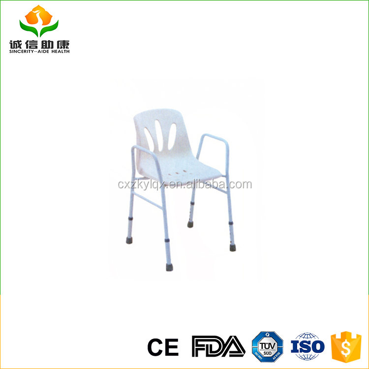 Comfortable steel shower chair with back folded elderly shower chair adjustable height
