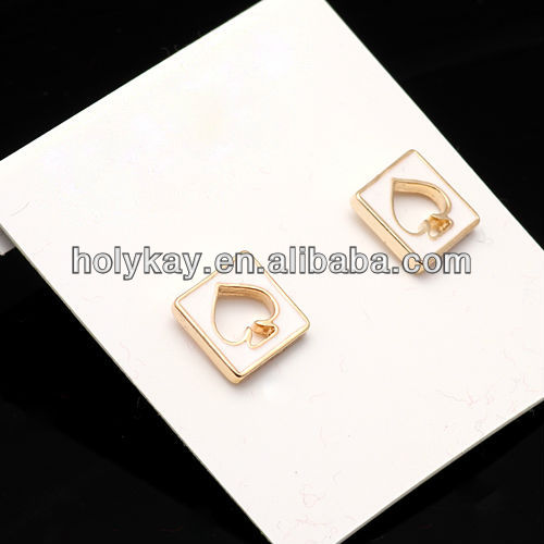 Playcard marks earring jewelry,Hollow out hearts earrings jewelry,Multicolor ear stud