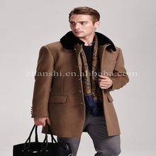 wholesale clothing fashion design korean style men 100% woolen overcoat with fur collar