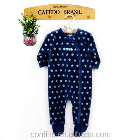 Wholesale high quality baby velvet romper boys stars printed clothes for boys