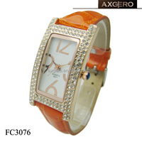 Japan movt quartz genuine leather watch with diamond for lady