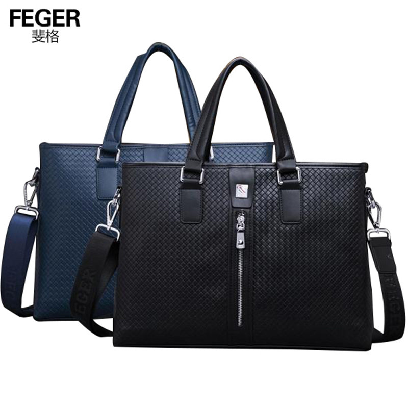 FEGER cheap mens tote genuine leather briefcase for lawyers