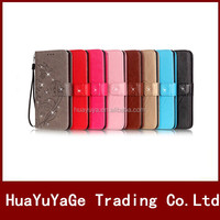 Flower Designs Bling diamond wallet ID card Holder Leather case cover for Apple iphone 5 5S SE