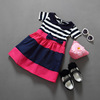2016 Walson children moviesstripe New Girls Floral Party Flower Dress kids dresses Gift