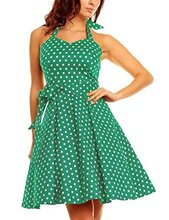 Womens Vintage Polka Dot Halter Retro Cocktail Dress 50s 60s Rockabilly Pin-up Audrey Hepburn Swing Skater Prom Gowns