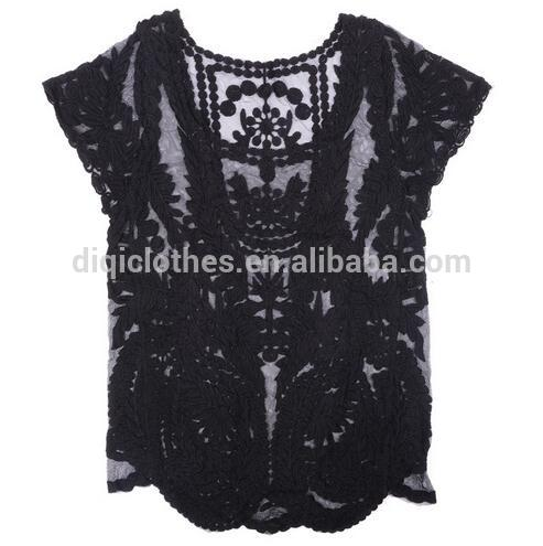 2018 newest casual sexy ladies hollow out crochet lace top wholes blusas femininas
