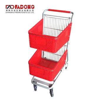 Double basket trolley shopping cart with metal basket holder