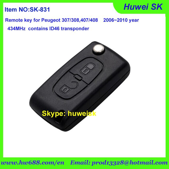 2buttons Original folding remote key for Peugeot 307 new model on 2006~2010 year