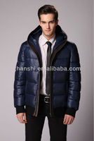 2016 Fashion Navy Down Filled Quilted Field Jacket With Knit Trim