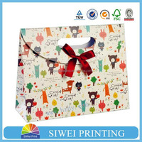 Customized paper gift bag&Birthday gift bag&christmas gift bag with ribbon handle and spot glitter wholesale