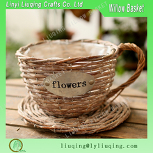 Coffee cup desined hanging garden plants willow flower pot handmade flower arrangements