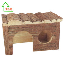 Wooden Pet Houses Small Animal Hut Bark Hamster Cages