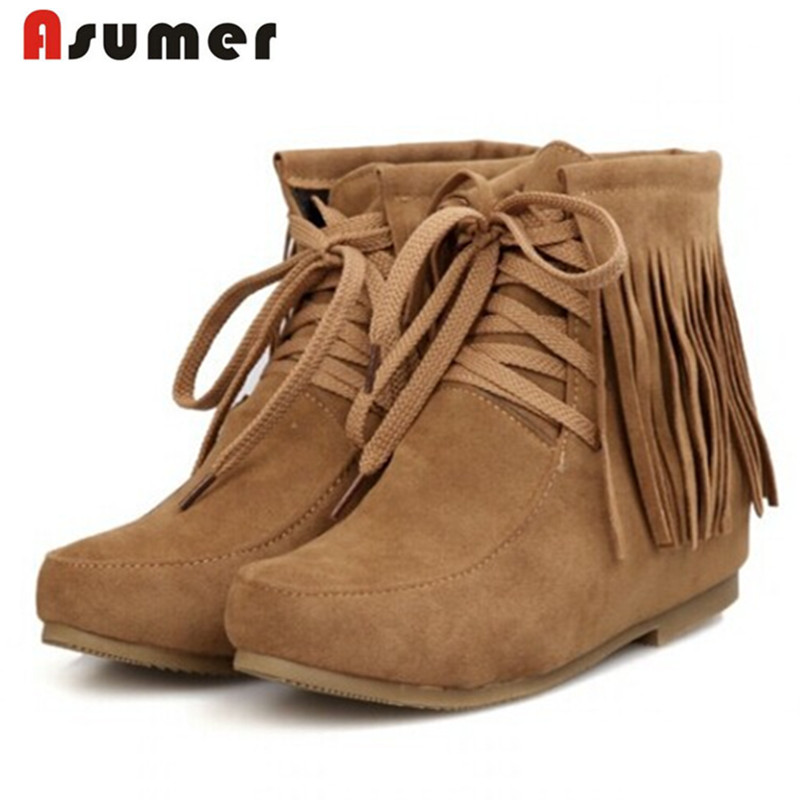 3 colors new arrive Women boots 2014 winter autumn ladies fashion flats ankle boots tassel ladies snow boot size 34-43