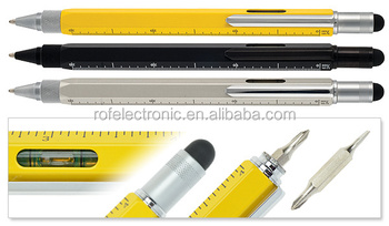 6in1 Multi-Tool Stylus Ballpoint touch Pen with Ruler and Screwdriver