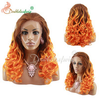 Customized color lace front wig synthetic hair, noble gold synthetic hair