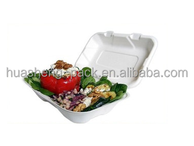 600ml clamshell biodegradable sugarcane disposable food paper container