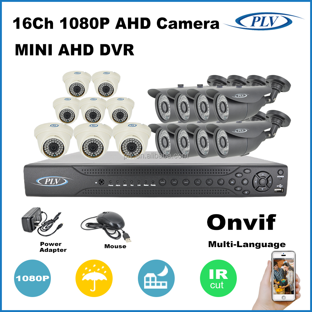 china 2 megapixel ahd hd camera 16 channel dvr cctv system plug and play
