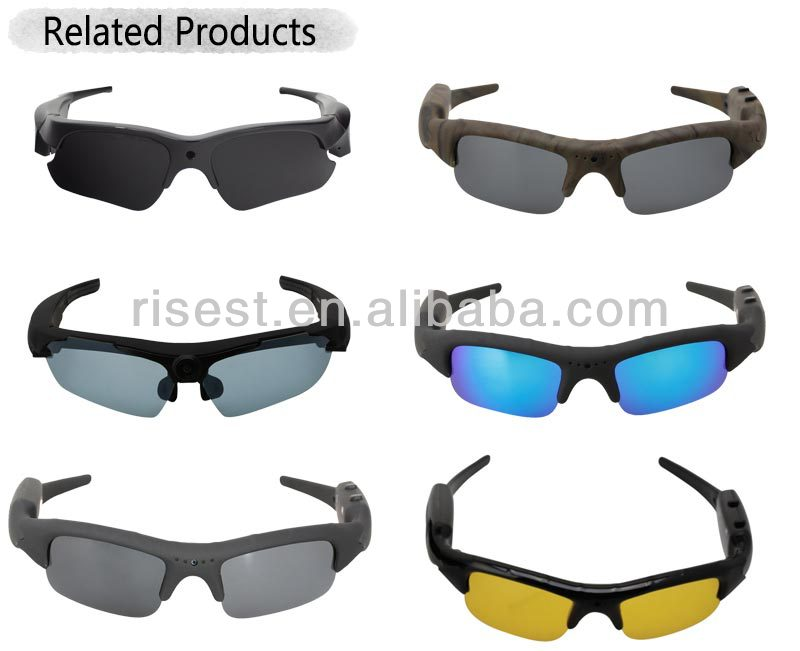 Spy Camera Glasses <strong>1080P</strong> Video Recording, Cycling Motion DVR Colorful Lenses Sunglasses