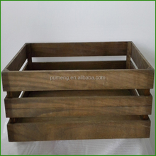 Dark Brown Christmas Fruit Disply Crate Box Wooden