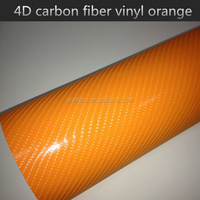 1.52*30m Air Channel Orange Glossy Carbon Fiber Vinyl 4D Folie