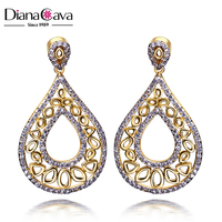 Indian Style Love 2-Tone Zirconia Prong Setting Jewelry Drop Earrings for Wedding Mermaid
