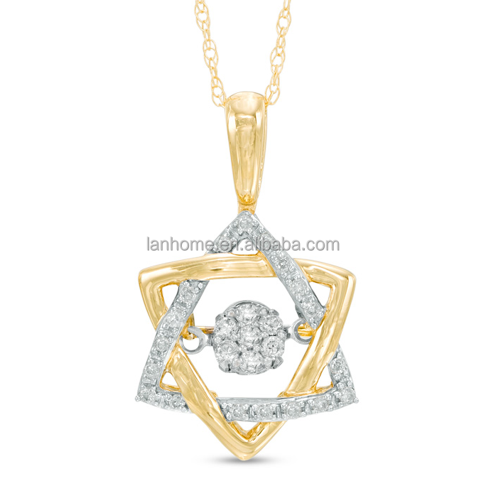 Gold Plated 925 Sterling Silver Star of David Pendant Neckalce