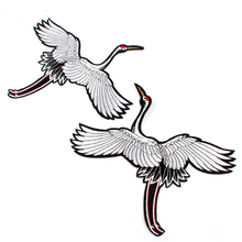 Hot Sale Crane Birds Embroidered Iron On Patch Badge Clothes Animal Applique