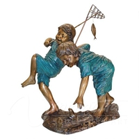 2015 hot sale lawn decor life size Bronze Boy and Girl Fishing Statues