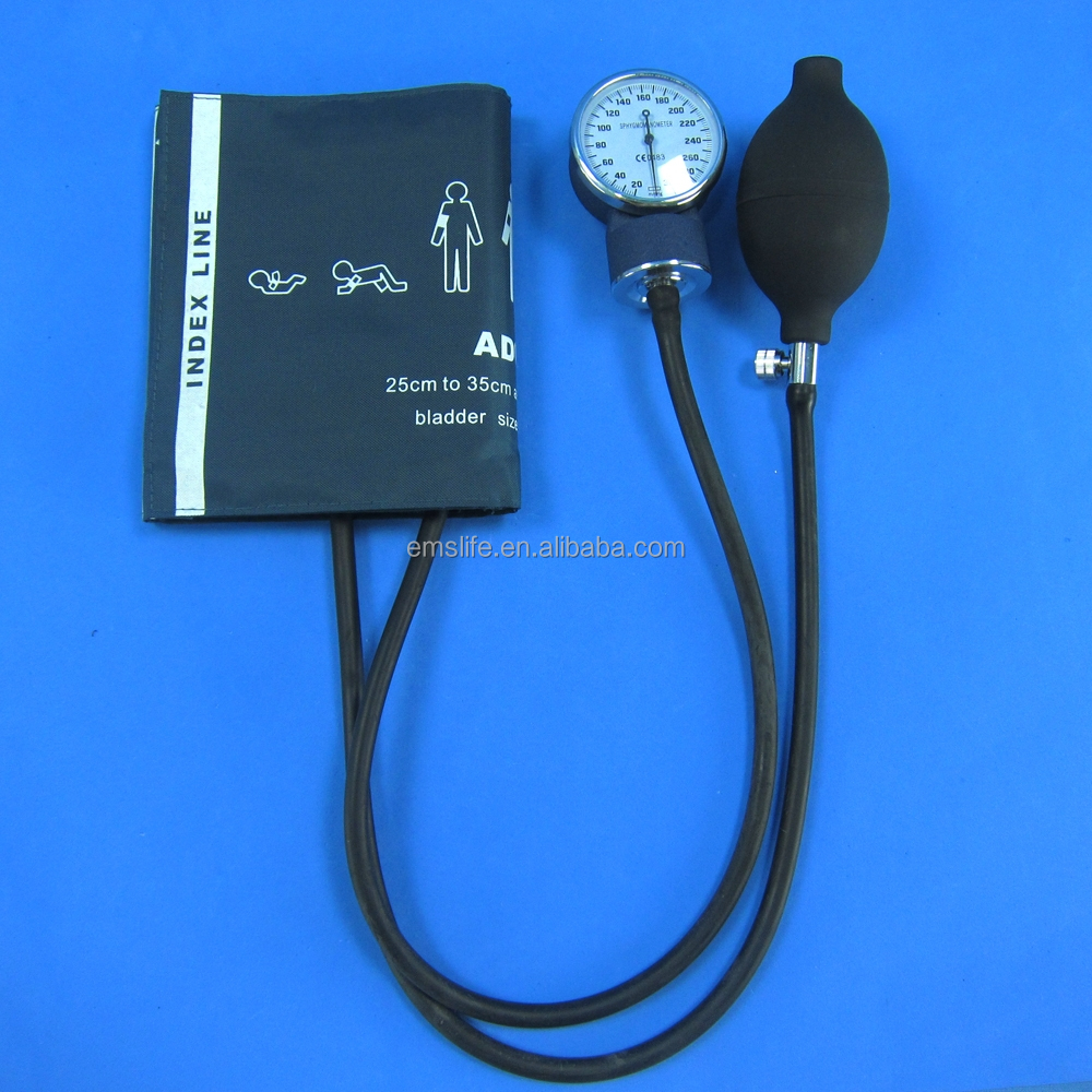 Household hospital arm manule aneroid Sphygmomanometer Kit for Blood pressure meter with bulb value and gauge