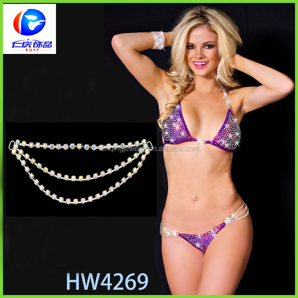 Wholesale crystal bikini connectors swimwear connector rhinestone connector