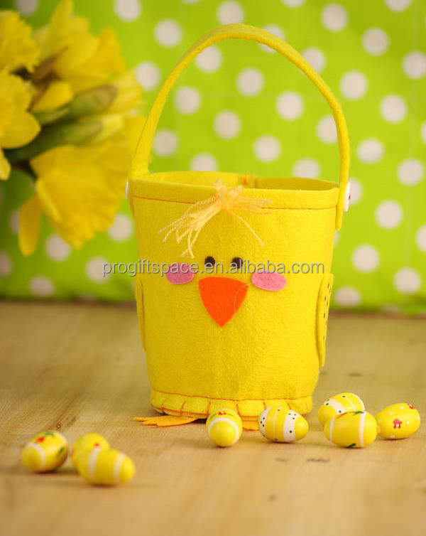 2017 New fashion hotsale China cheap wholesale handmade eco yellow felt chick decorations gift cute Easter egg bag