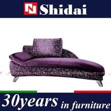 Stainless Steel legs purple velvet chaise lounge/sofa couch/sex sofa chair