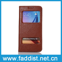 Wholesale Double window holster Cheap Mobile phone Cases for samsung galaxy s6