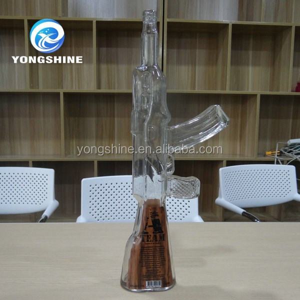ak-47 gun shaped glass bottle
