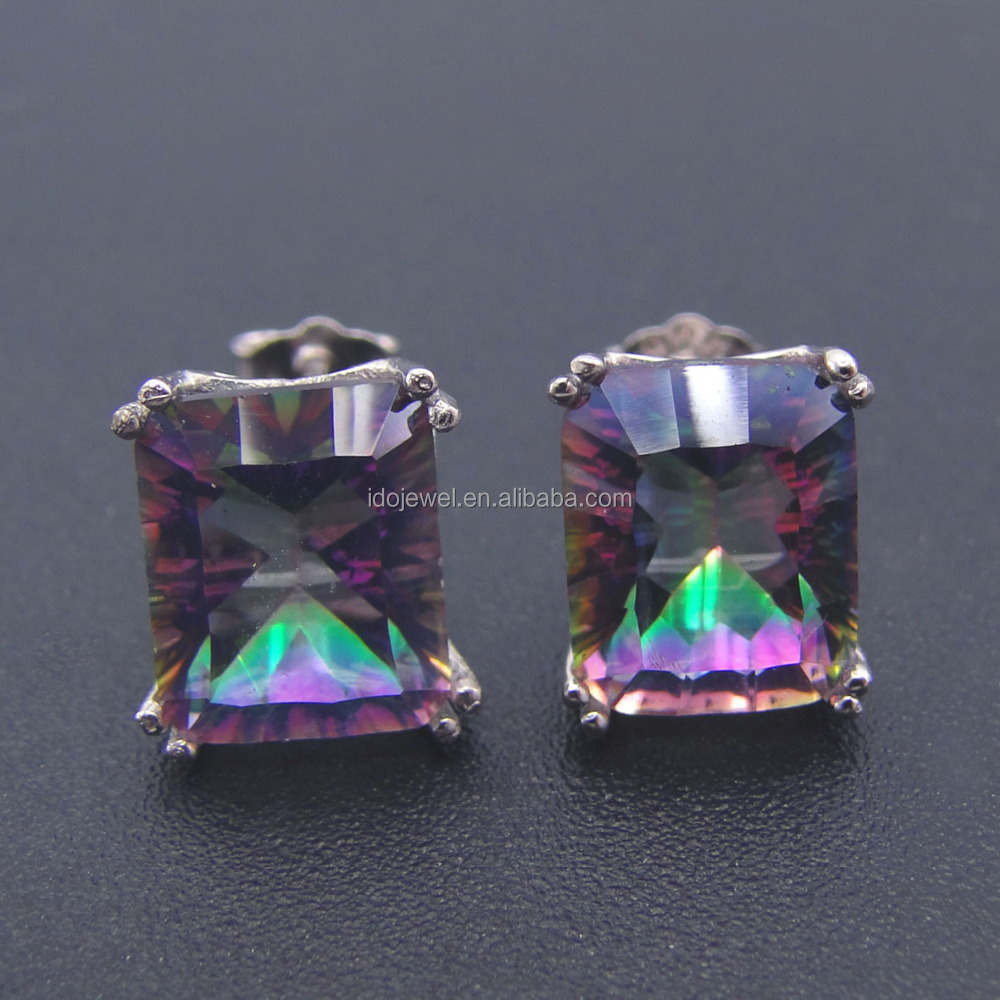 925 Sterling Silver Mystic Topaz Stud Earring Rhodium Plating Fire Topaz Jewelry