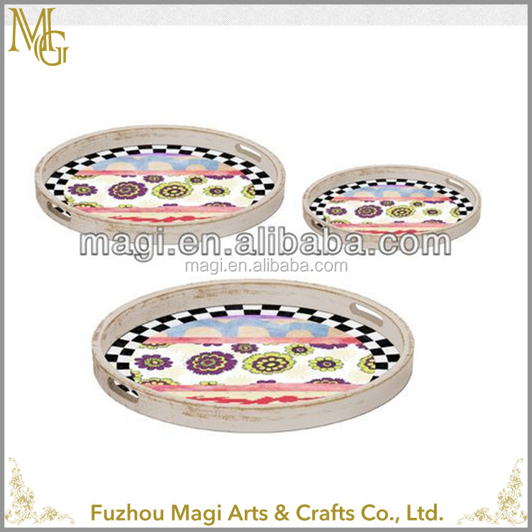 European Style Customized Decorative set of 3 wooden serving trays wholesale