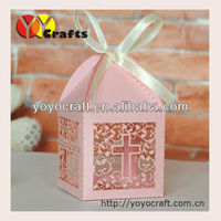 Laser cut wedding souvenirs boxes with ribbon fair price free logo and design