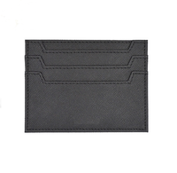 personalised saffiano black leather business card holder
